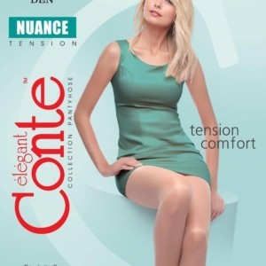 Dames panty zijdeglans 15-denier (NUANCE-euro), versterkte teenzone & hiel/1-Pair 15-Denier Elastic silky tights, with tightened top & toe (Tension Comfort), Model: NUANCE 15 (euro-package), article-8C-35CP, #AxellesFashion