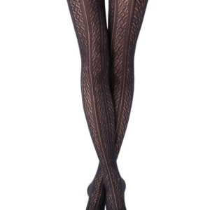 Wollen panty 3D-patroon STYLE, grafit donkergrijs