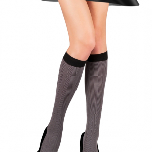 Kniekousen/pantykousen met motief 60 DEN en elastisch boordje, thin knee socks / tights-socks with pattern and elastic trim), article-12C-29CP, #AXELLES