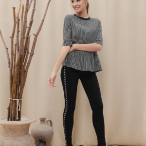 Legging & Jegging met contrastbies / Women's pants jeggings/leggings Model: HOLLYWOOD, article-18C-690TCP, #AxellesFashion
