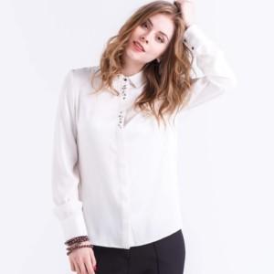 Blanc blouse-shirt van zijde met strass, wit, white, article-B-2018-0012, #Axelles.