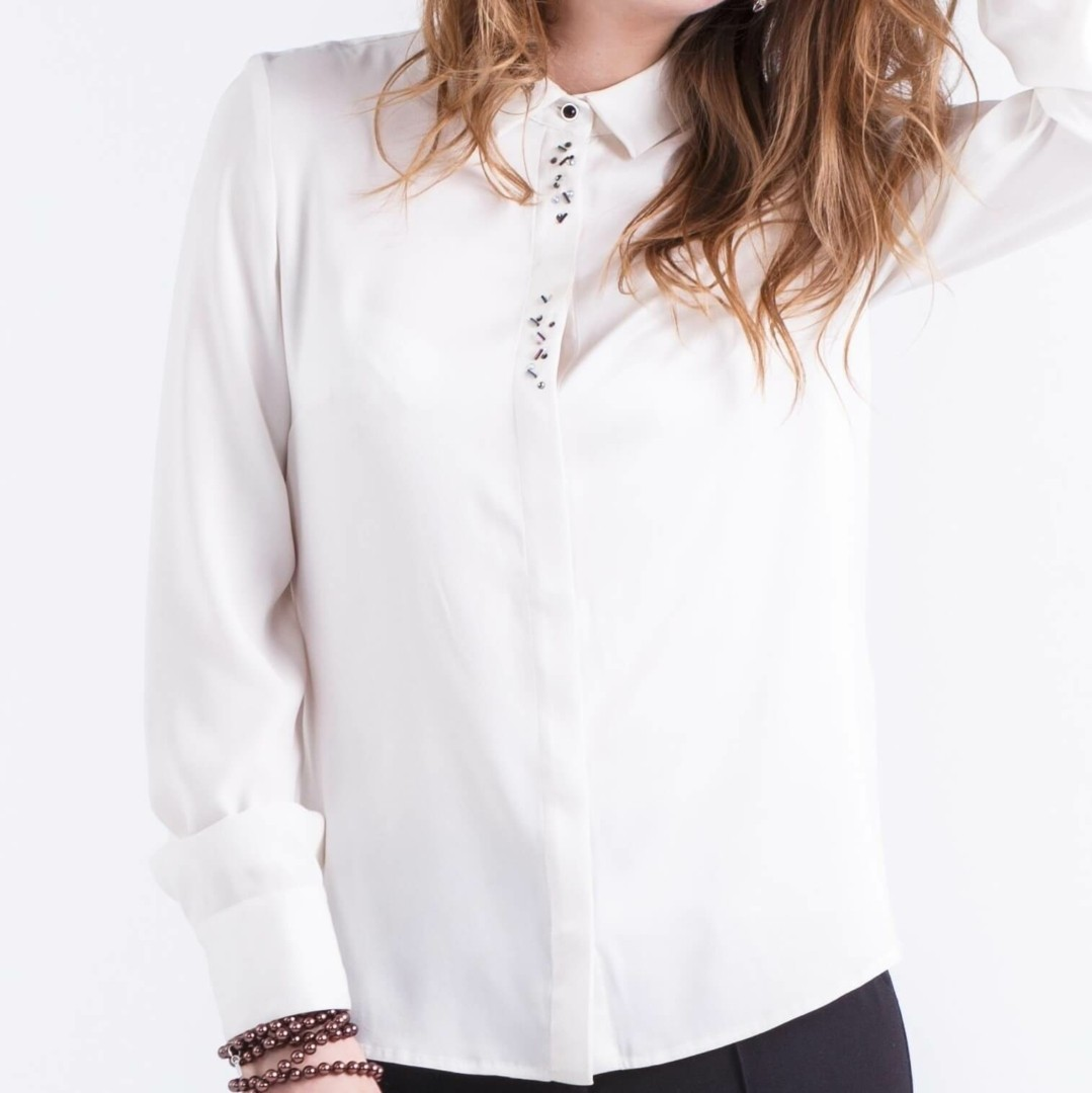 Beste Zijde blouse-shirt met pailletten | AXELLES Fashion QK-42