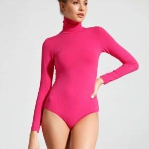 Rolkraag Body-Blouse in viscose met lange mouwenen drukknoopjes (Women's long sleeve bodysuit blouse en roll neck),Model: LBD 1035, Axelles Fashion