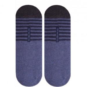 Voetjes met siliconen anti-slip strepen (2-paar), denim, blauw, herensokken, 16С-17CP_052, AXELLES