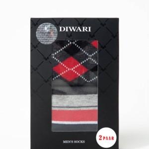 2-paar Cadeauset herensokken klassiek, grijs, zwart, rood,geruit, gestreept, Axelles-Fashion