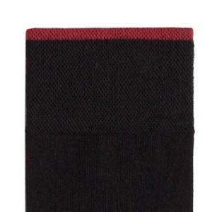 3-paar set Herensokken, klassiek, effen zwart, rode streep