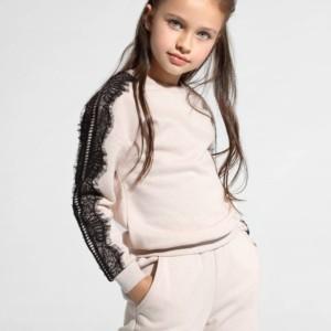 Kinders sweatshirt glitter met kant, jogging, broek, sportlook, nude, rose, DD 1074, Axelles