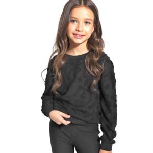 Kinder Sweatshirt,, 3D-letters, kinderenmode, zwart, moeder en dochter, family-look, DD 1075, Axelles