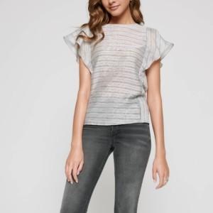 Linnen blouse met volant, grijs, zwart, LBL 1098, zwarte jeans gebleached, Axelles