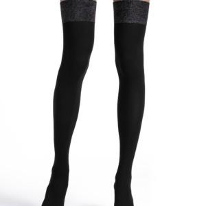 Overknees lurex bord,ondoorzichtig, 220-DEN (TRENDY), zwart, Axelles-Fashion