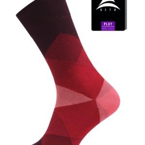 Herensokken zakelijk gestreept Quality-Comfort (2-paar), geblokt, rood, 17C-66CP -716, Axelles-Fashion
