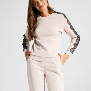 Sweatshirt glitter met kant, family-look, moeder-dochter collectie, kant, nude, poeder, jogging, sport, broek, LD 1051, Axelles