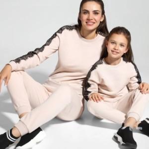Sweatshirt zacht-katoen met kant, family-look, moeder-dochter collectie, nude, poeder, jogging, sport, broek, LD 1051, Axelles