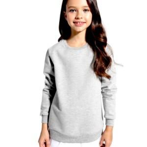 Kinder trui met shirt-inzet kinderenmode, moeder en dochter, family-look, grijs, wit, DD 1077, Axelles