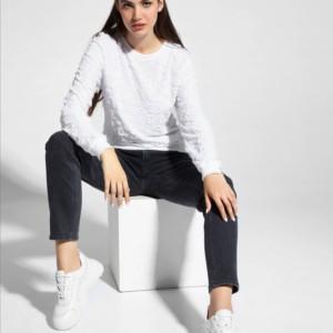 Sweatshirt, trui, 3D-letters, wit, moeder en dochter, family-look, LD 1050, #AxellesFashion