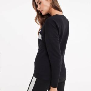 Sweatshirt met tekst print, taille-elastiek, zwart, black, LD 843, met leggings, achterkant, Axelles