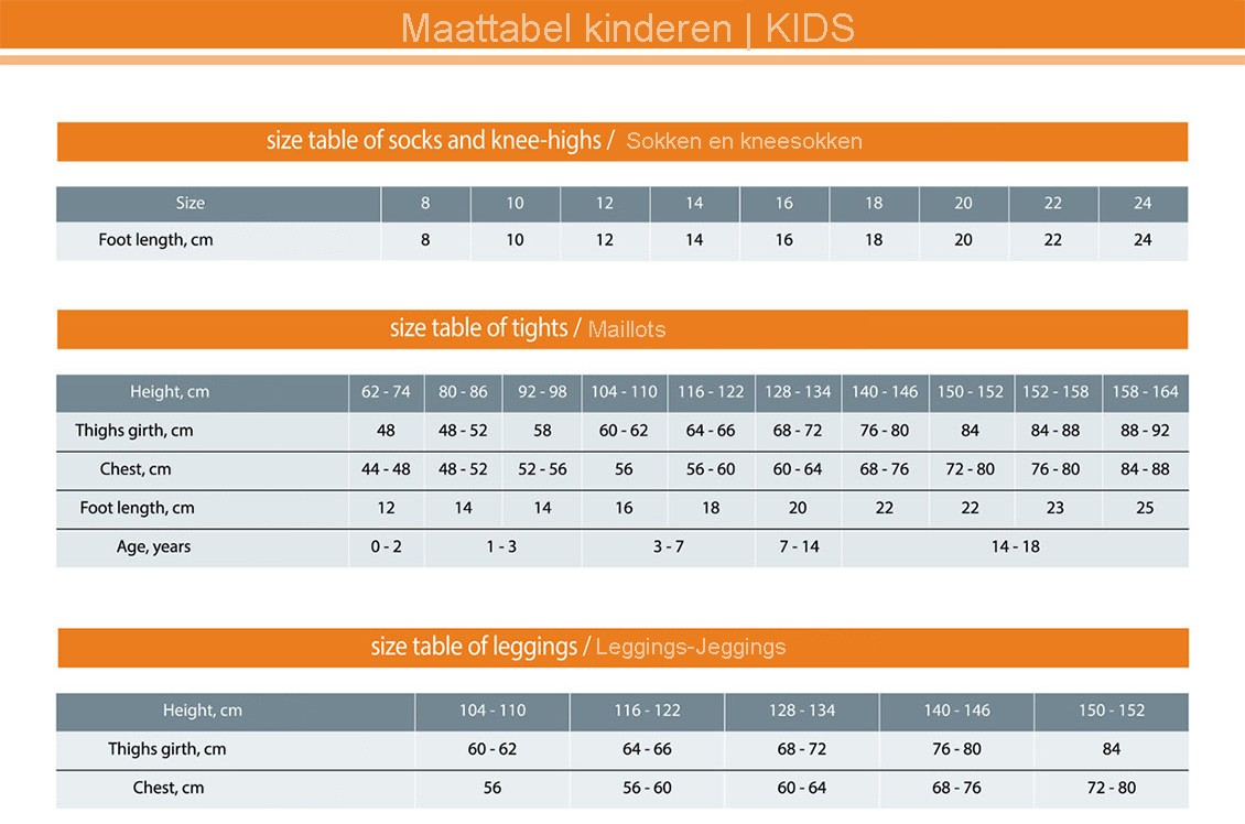 kids size guide-maattabel-kinderen-maillots-sokken