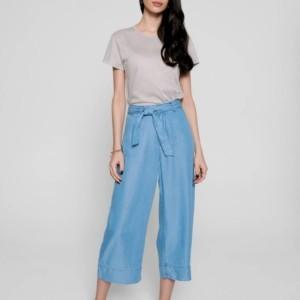 Culotte hogetaille strikceintuur denim-look, blauw, voorkant, nude, tshirt, Axelles