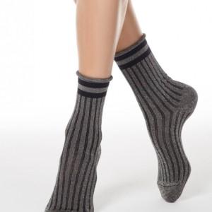 Glitter sokken-in-hakken gestreept, oprolbord, zilver grijs, zwart,19C-20CP (153), Axelles