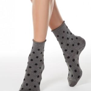 Glitter sokken-in-hakken gesteept dots, oprolbord, zilver grijs, zwart,19C-20CP (155), Axelles