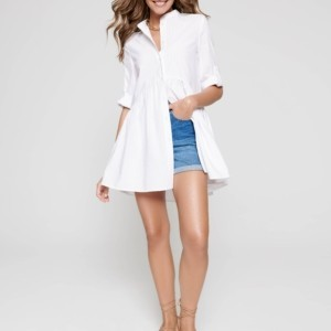 Hemdkleed wijd model, wit, LTH 1101, Axelles