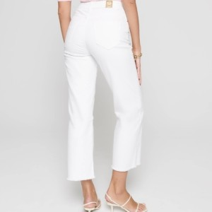 Jeans culottes gerafeld zoom, white, wit, achterkant, 243, Axelles