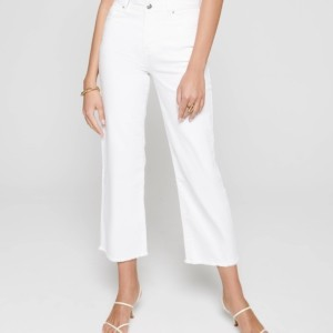 Jeans culottes gerafeld zoom, white, wit, voorkant, 243, Axelles