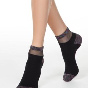 Sokken glitter & transparant gedeelte, 20C-5CP (207), zwart, modetrend, Axelles