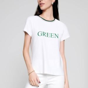 T-shirt Green metallic bord, tekst geborduurd, white, wit, voorkant, LD 1108, Axelles