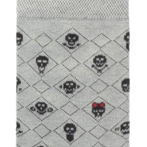 Herensokken doodskoop patroon (2-paar), zwart-grijs-rood, details, Axelles-Fashion