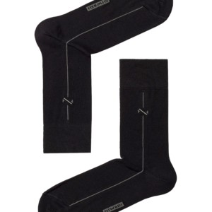 3-paar set Herensokken, zwart met fijne streep, 5С-08CP_005, Axelles-Fashion.