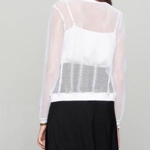 Bomber vestje 3D-netstof (doorschijnend), wit, 19C-977TCP, achterkant, Axelles-Fashion