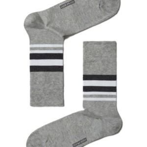 Herensokken gestreept, grijs, maat 40-41, 7C-26CP (041), Axelles-Fashion