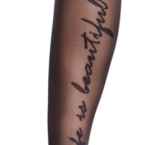 Naadpanty met tekst achteraan, zwart, details, Axelles-Fashion