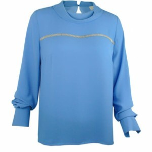 Cowl neck blouse with piping (metal trim), front-side close-up, B-2016-0042, sky blue, Axelles-Fashion
