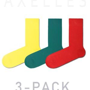 Herensokken felle-kleuren gekaamd katoen, (3-pack), rood, geel, turquoise, 15С-23CP_mix-1, Axelles-Fashion