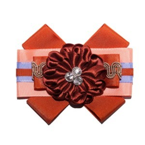 T-shirt bowknot brooche, dark orange-gold grosgrain, fabric flower, brooch_ACC_10_color_04_brooch_02, Axelles