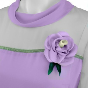 Flower brooche on cowl neck blouse, with metal piping, violet, close up, violet, B-2016-0042, Axelles-Fashion