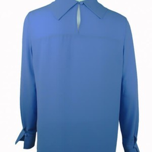 Cowl neck blouse with piping (metal trim), back-side close-up, B-2016-0042, sky blue, Axelles-Fashion