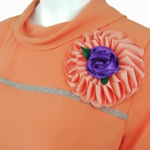 Cowl neck blouse, coral red, large flower grosgrain ribon brooche , Axelles
