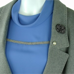 Coat wol, gray, blue blouse, blue bow-tie, Axelles-Fashion