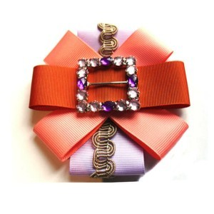 Multicolor trim embellishments brooch, dark-Orange, Lavender, ACC_10C_color_05_brooch_03, AXELLES