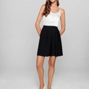 Short wide fit, tailleelastiek, zwart, voorkant, Axelles