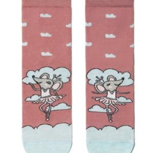 Sokken dansend muisje patroon, ash-pink, (154)