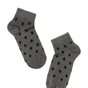 Glanzende sokken gestipt, zilver, grijs, AXELLES