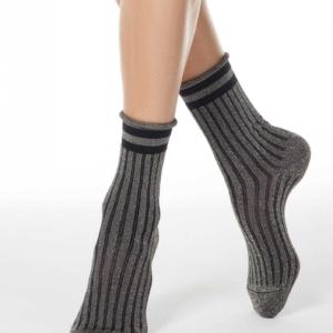 Glitter sokken, gestreept, lurex, zilver, oprolbord, grijs, zwart