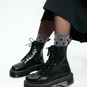 Glitter sokken-in-hakken gestipt, dots, oprolbord, zilver grijs, zwart, Axelles-Fashion