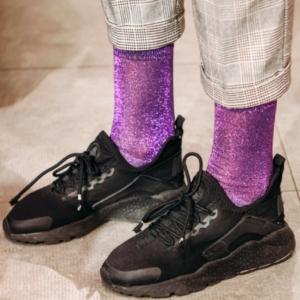 Glitter sokken opgerold boord, lurex, modetrend, Axelles