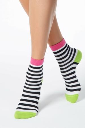 Sokken gekleurd gestreept (087), kleurrijke sokken, cadeauset, AXELLES