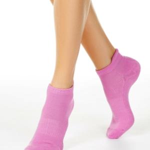 Warme sneakersokken gevoerd badstof, fuchsia-roze.